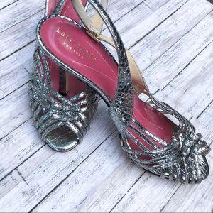 Kate Spade Strappy Metallic Snakeskin Heels 7